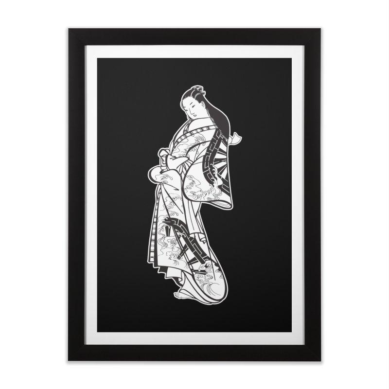 Geisha - Black Home Framed Fine Art Print by Midnight Studio