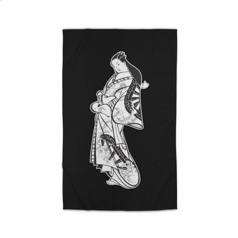 Geisha - Black Home Rug by Midnight Studio