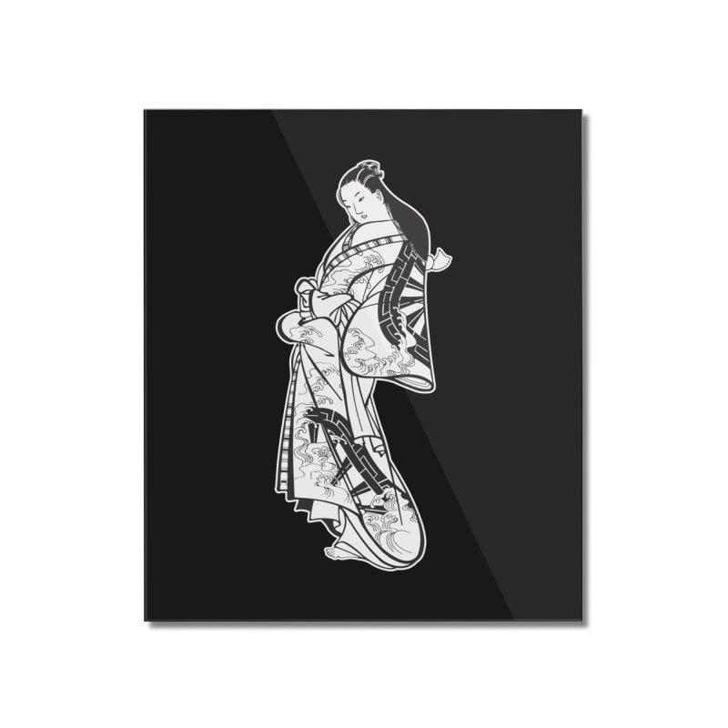 Geisha - Black Home Mounted Acrylic Print by Midnight Studio