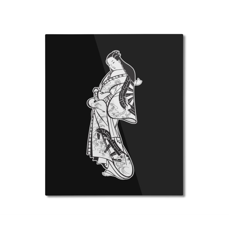 Geisha - Black Home Mounted Aluminum Print by Midnight Studio