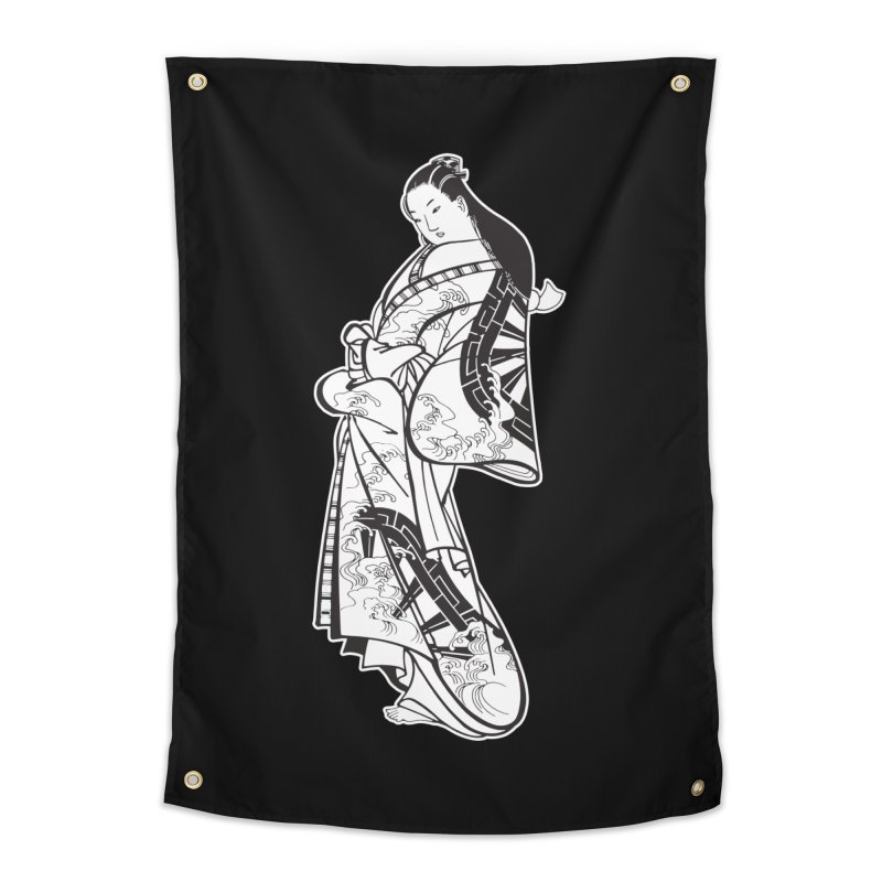 Geisha - Black Home Tapestry by Midnight Studio