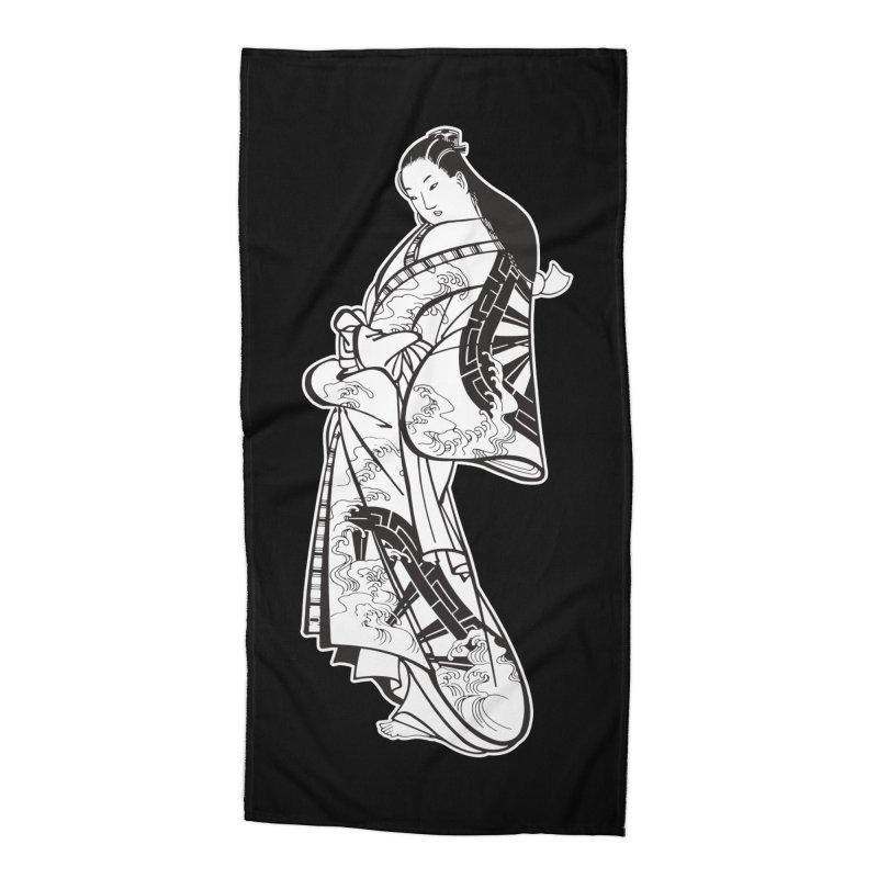 Geisha - Black Accessories Beach Towel by Midnight Studio