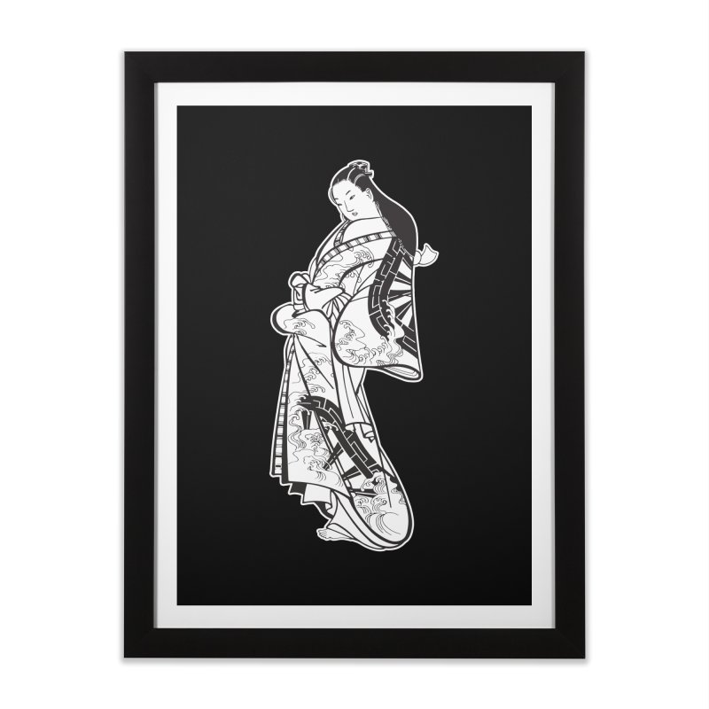 Geisha - Black Home Framed Fine Art Print by Midnight Studio
