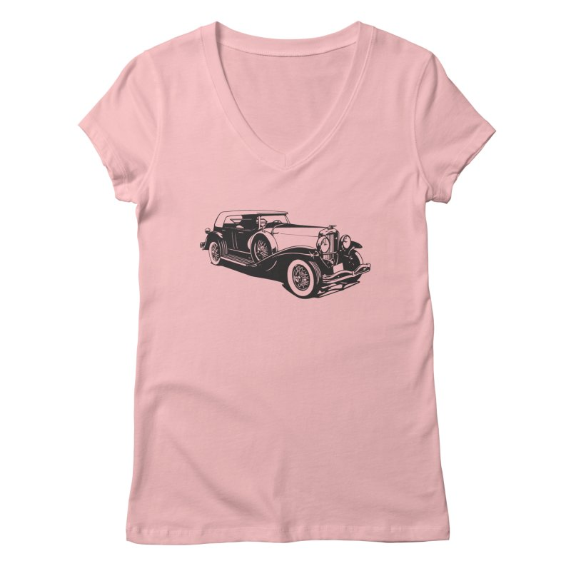 The Duesenberg in Women's Regular V-Neck Pink by Midnight Studio