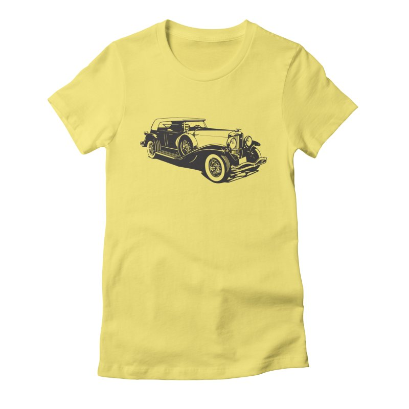 The Duesenberg in Women's Fitted T-Shirt Light Yellow by Midnight Studio