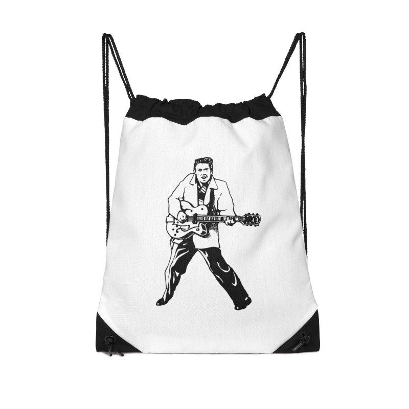 Eddie Cochran - Summertime Blues Edition Accessories Drawstring Bag Bag by Midnight Studio
