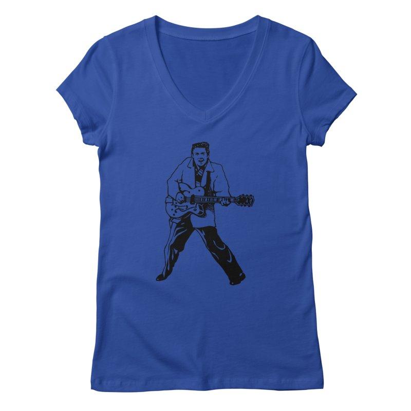 Eddie Cochran - Summertime Blues Edition Women's V-Neck by Midnight Studio