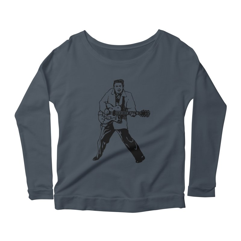Eddie Cochran - Summertime Blues Edition Women's Scoop Neck Longsleeve T-Shirt by Midnight Studio