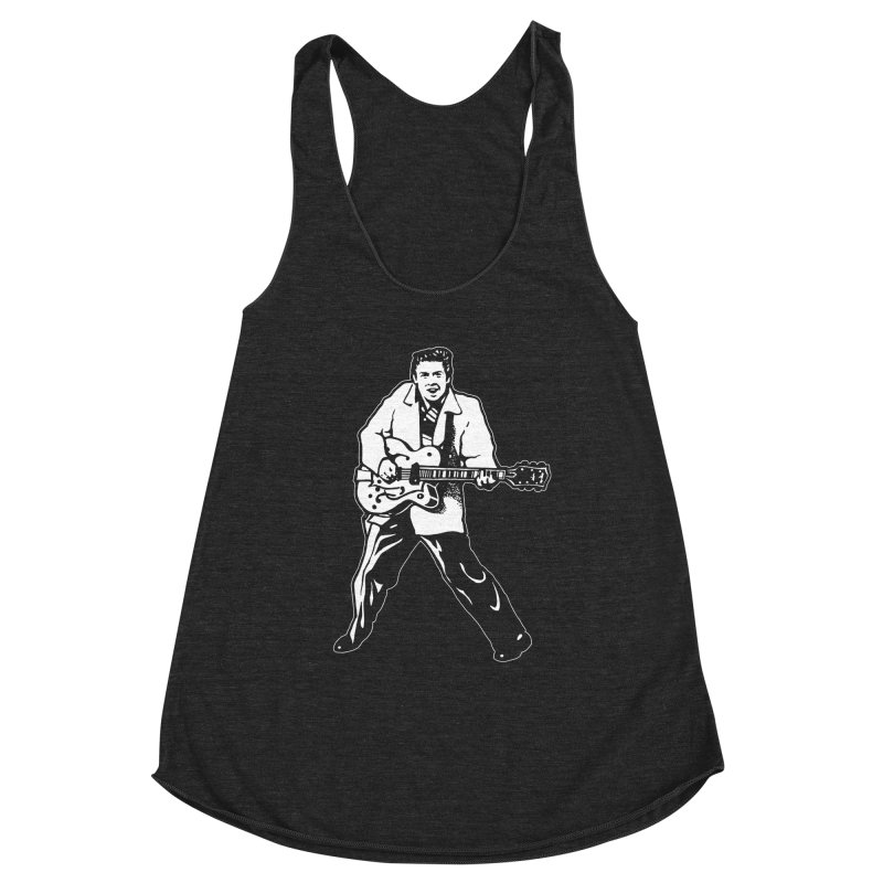 Eddie Cochran - Black Edition Women's Racerback Triblend Tank by Midnight Studio