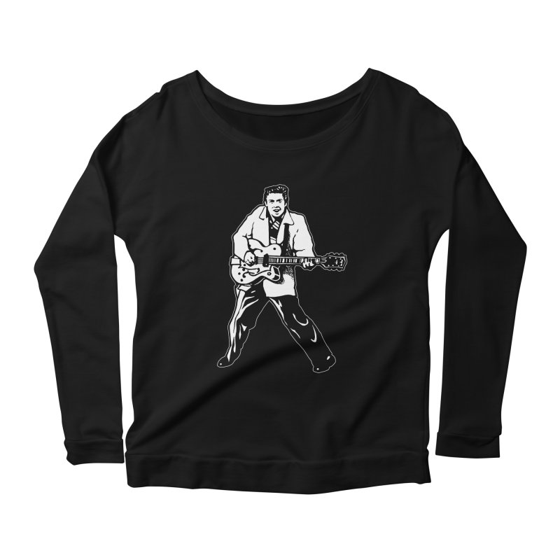 Eddie Cochran - Black Edition Women's Scoop Neck Longsleeve T-Shirt by Midnight Studio