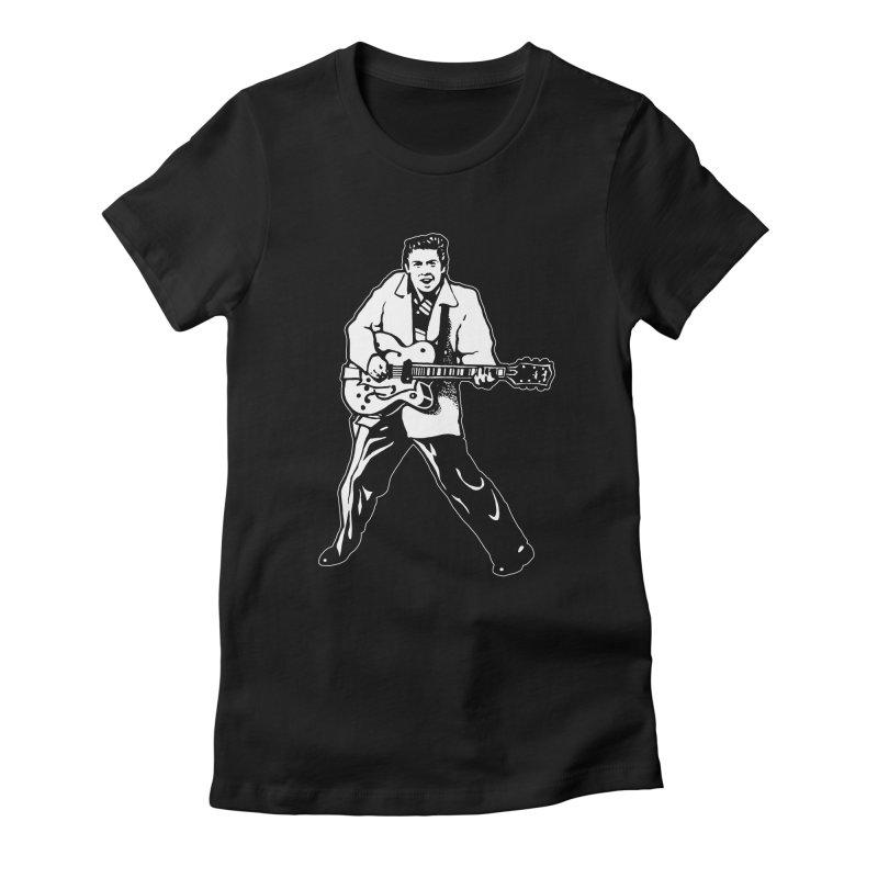 Eddie Cochran - Black Edition Women's Fitted T-Shirt by Midnight Studio
