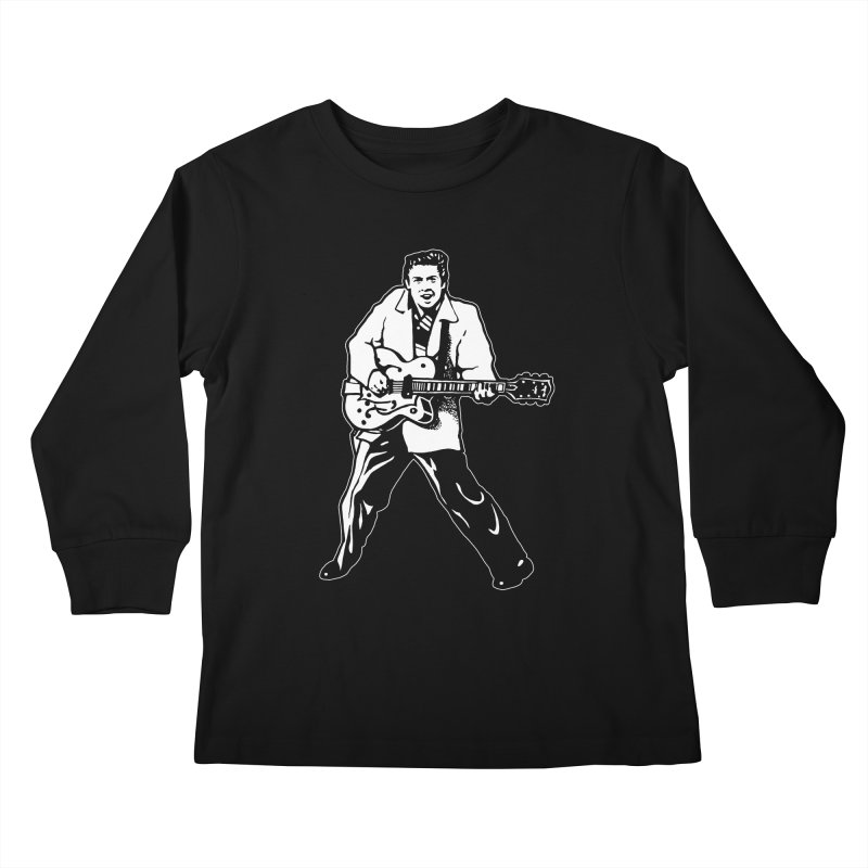 Eddie Cochran - Black Edition Kids Longsleeve T-Shirt by Midnight Studio