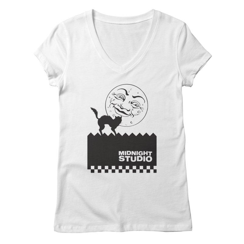 Classic Logo Shirt Women's Regular V-Neck by Midnight Studio