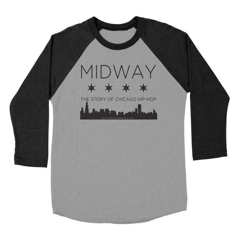 Midway (Black) Men's Baseball Triblend Longsleeve T-Shirt by Midway Shop