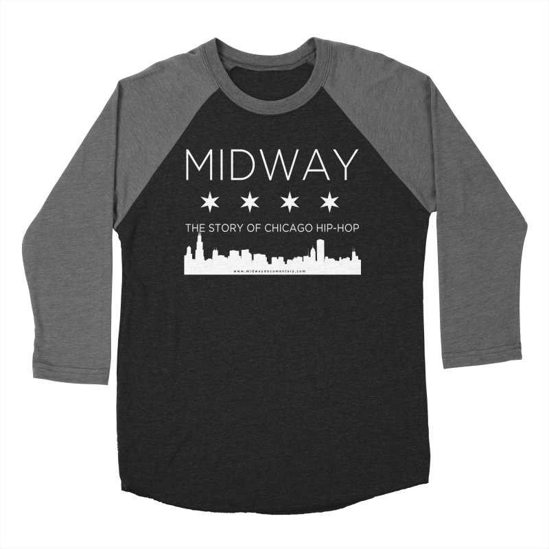 Midway (White) Men's Baseball Triblend Longsleeve T-Shirt by Midway Shop