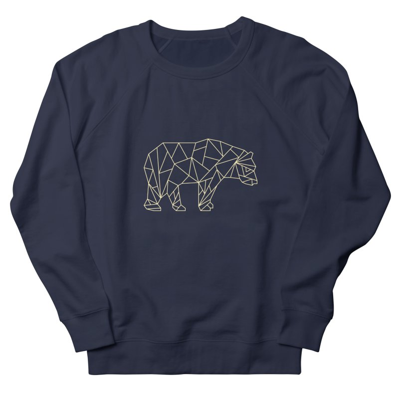 Geometric Bear in Men's French Terry Sweatshirt Navy by Miezerie