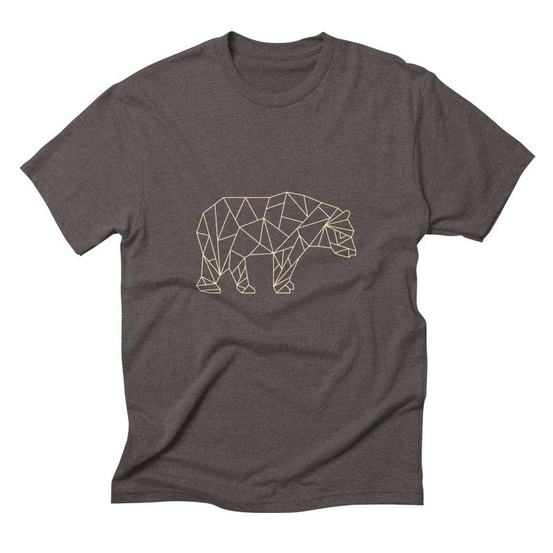 Geometric Bear Men's Triblend T-Shirt by Miezerie