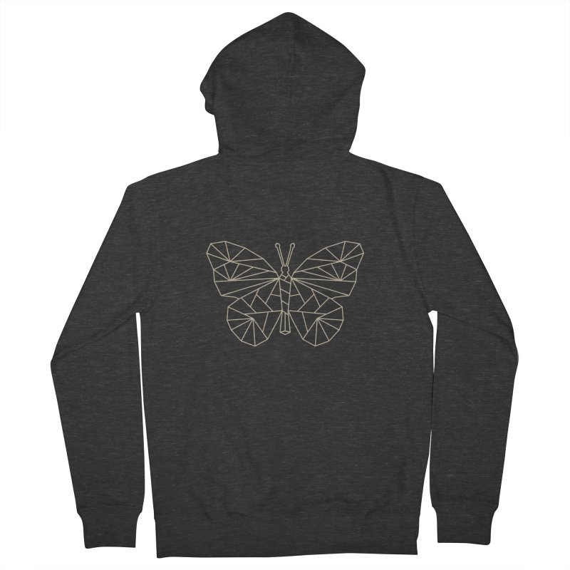 Geometric Butterfly Women's French Terry Zip-Up Hoody by Miezerie
