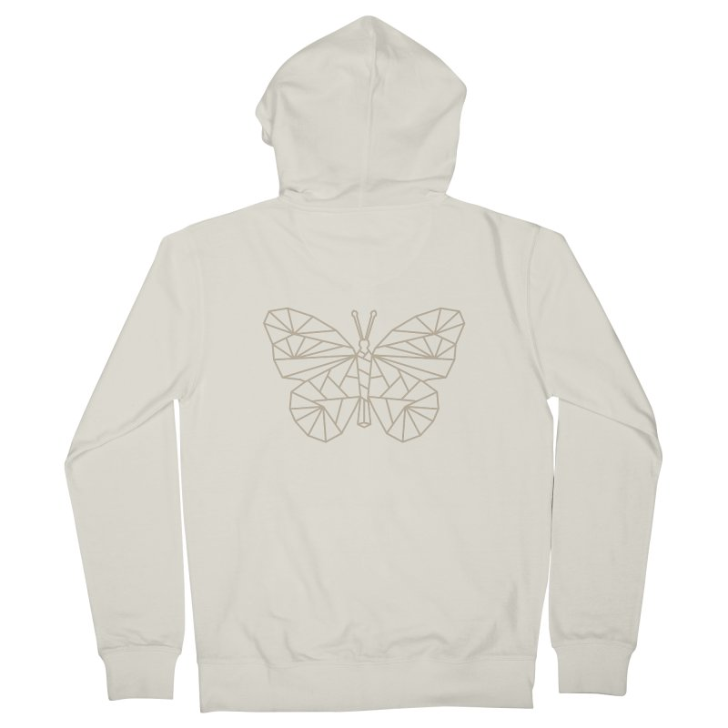 Geometric Butterfly Men's French Terry Zip-Up Hoody by Miezerie