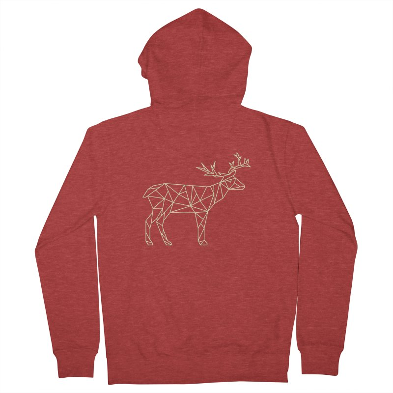 Geometric Deer Women's French Terry Zip-Up Hoody by Miezerie