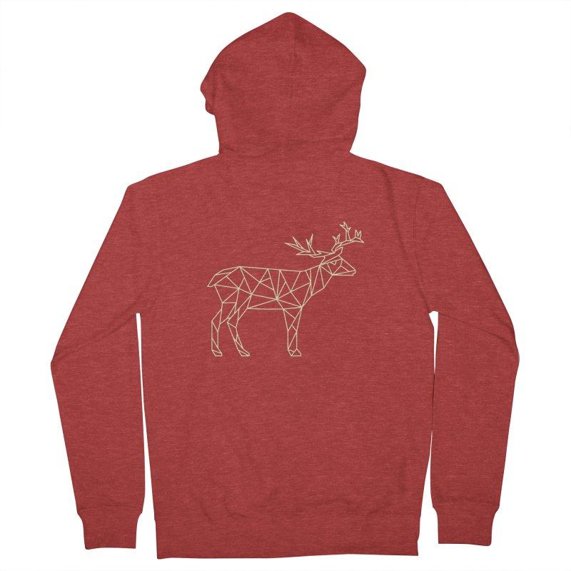 Geometric Deer Men's French Terry Zip-Up Hoody by Miezerie