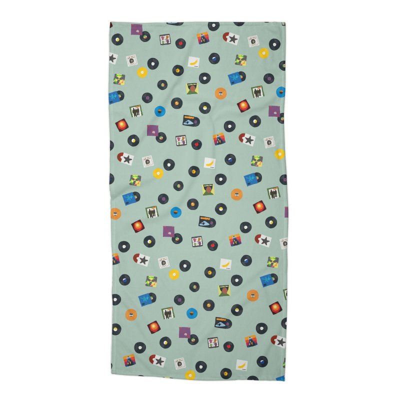 Mighty Record Collection Pattern Beach Towel Accessories Beach Towel by MightyMoss