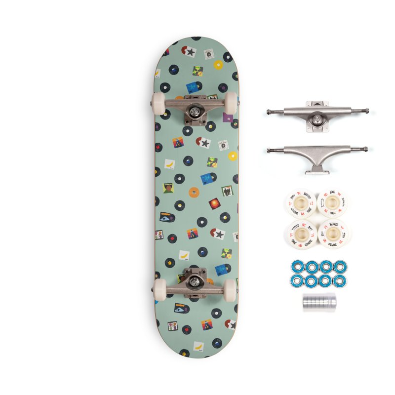 Mighty Record Collection Pattern - Sage Green Accessories Skateboard by MightyMoss