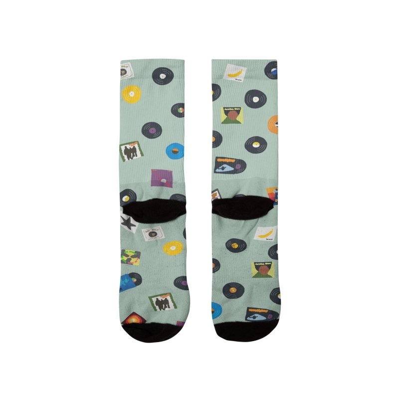 Mighty Record Collection Pattern - Sage Green Women's Socks by MightyMoss