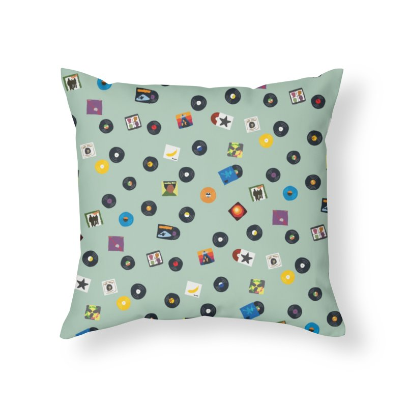 Mighty Record Collection Pattern - Sage Green Home Throw Pillow by MightyMoss
