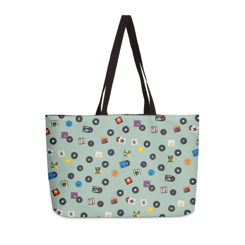 Mighty Record Collection Pattern - Sage Green Accessories Bag by MightyMoss