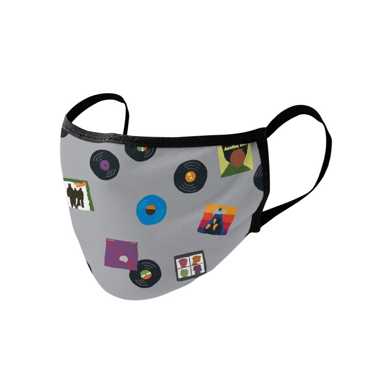 Mighty Record Collection Pattern - Grey Accessories Face Mask by MightyMoss