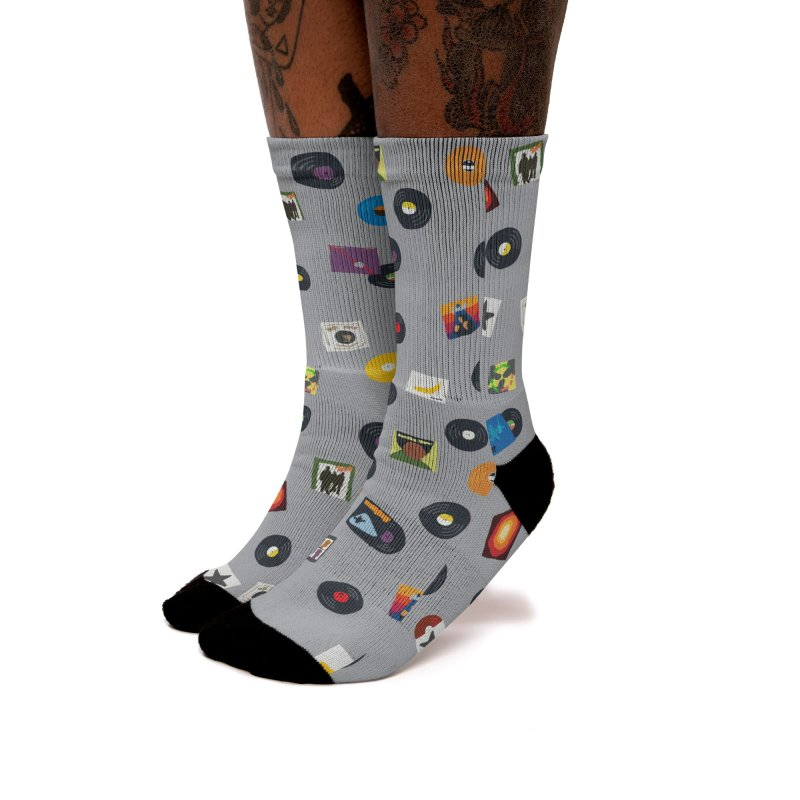 Mighty Record Collection Pattern - Grey Women's Socks by MightyMoss