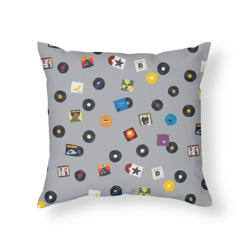 Mighty Record Collection Pattern - Grey Home Throw Pillow by MightyMoss