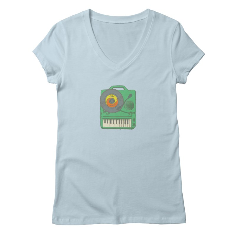 Portable Record Player 17 Women's V-Neck by MightyMoss