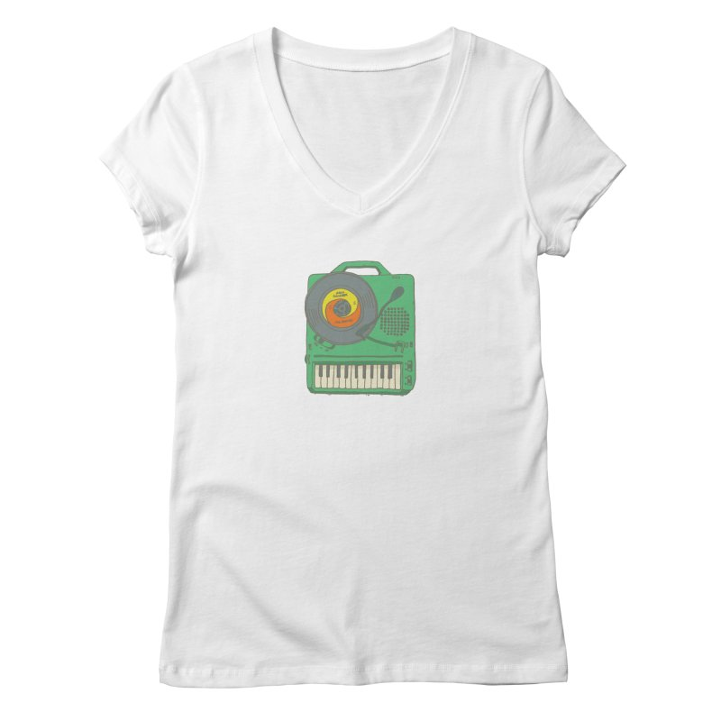 Portable Record Player 17 Women's Regular V-Neck by