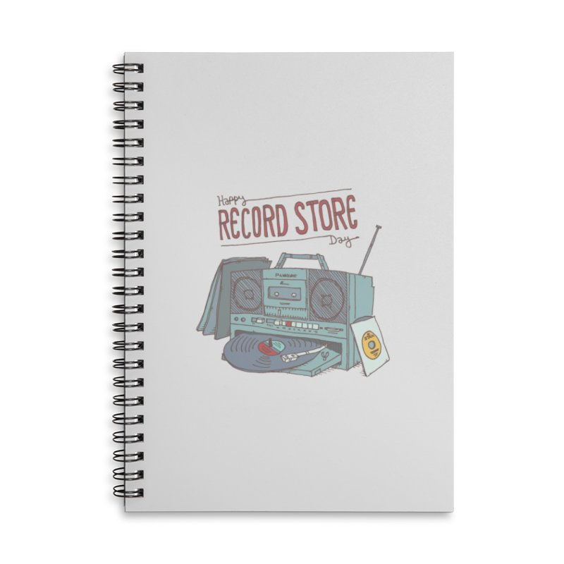 Record Boombox 16 Accessories Lined Spiral Notebook by