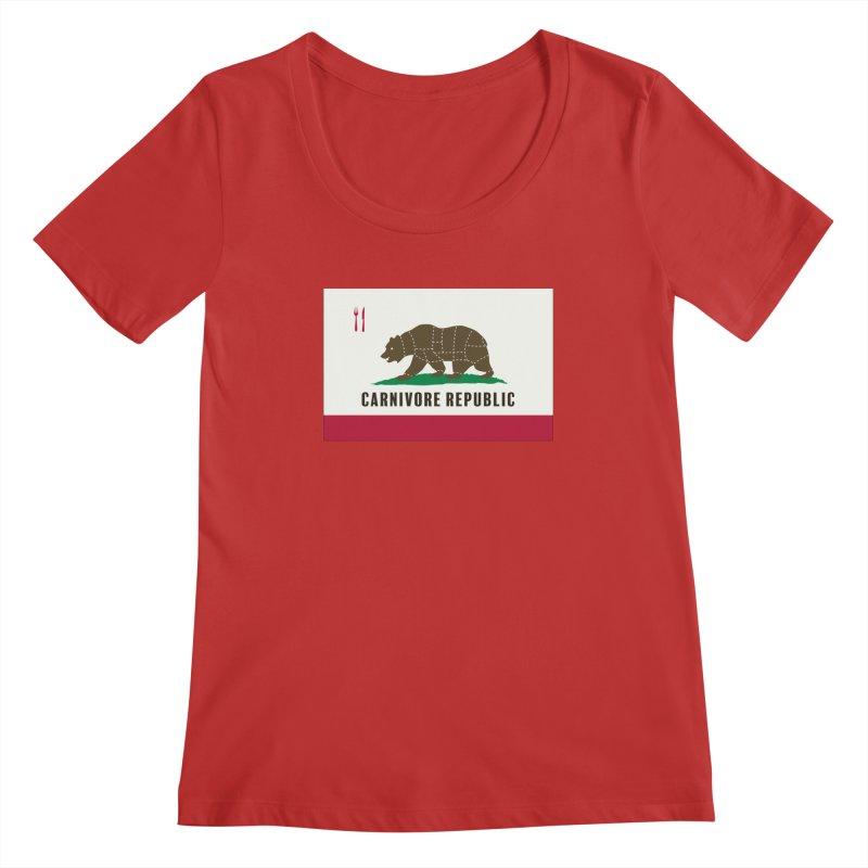 Carnivore Republic Women's Regular Scoop Neck by Mightywombat's Artist Shop