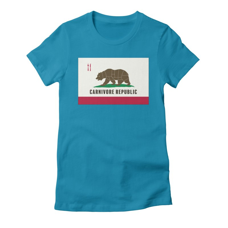 Carnivore Republic Women's Fitted T-Shirt by Mightywombat's Artist Shop