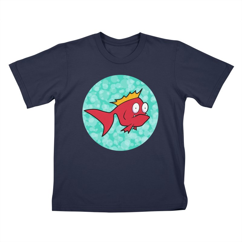 Concerned fish in Kids T-shirt Navy by mightywombat's Artist Shop