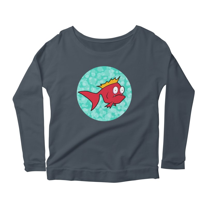 Concerned fish Women's Scoop Neck Longsleeve T-Shirt by Mightywombat's Artist Shop
