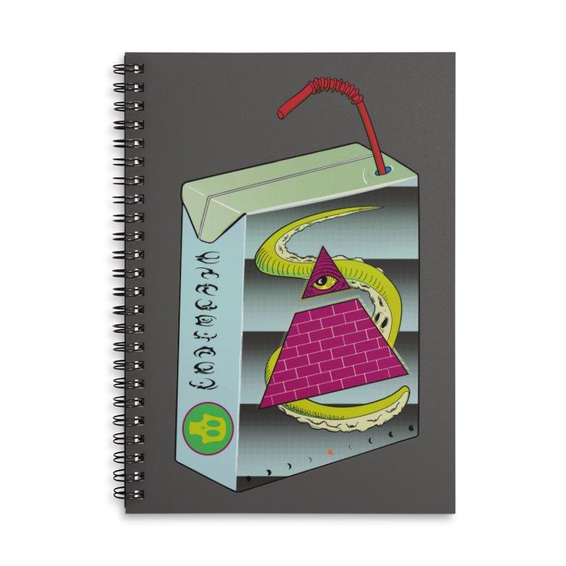 Illuminati Juice Box Accessories Lined Spiral Notebook by Mightywombat's Artist Shop