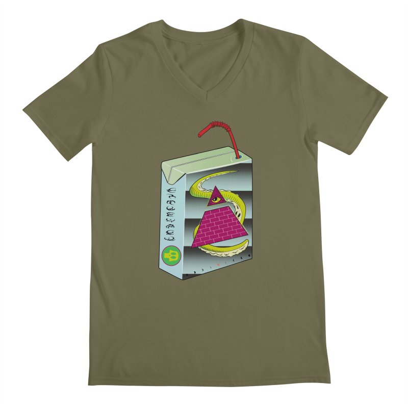 Illuminati Juice Box Men's Regular V-Neck by Mightywombat's Artist Shop