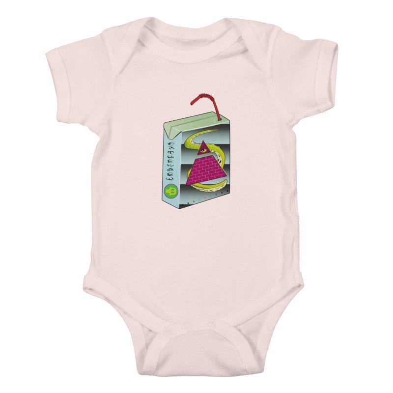 Illuminati Juice Box Kids Baby Bodysuit by Mightywombat's Artist Shop