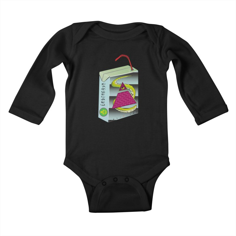 Illuminati Juice Box Kids Baby Longsleeve Bodysuit by Mightywombat's Artist Shop