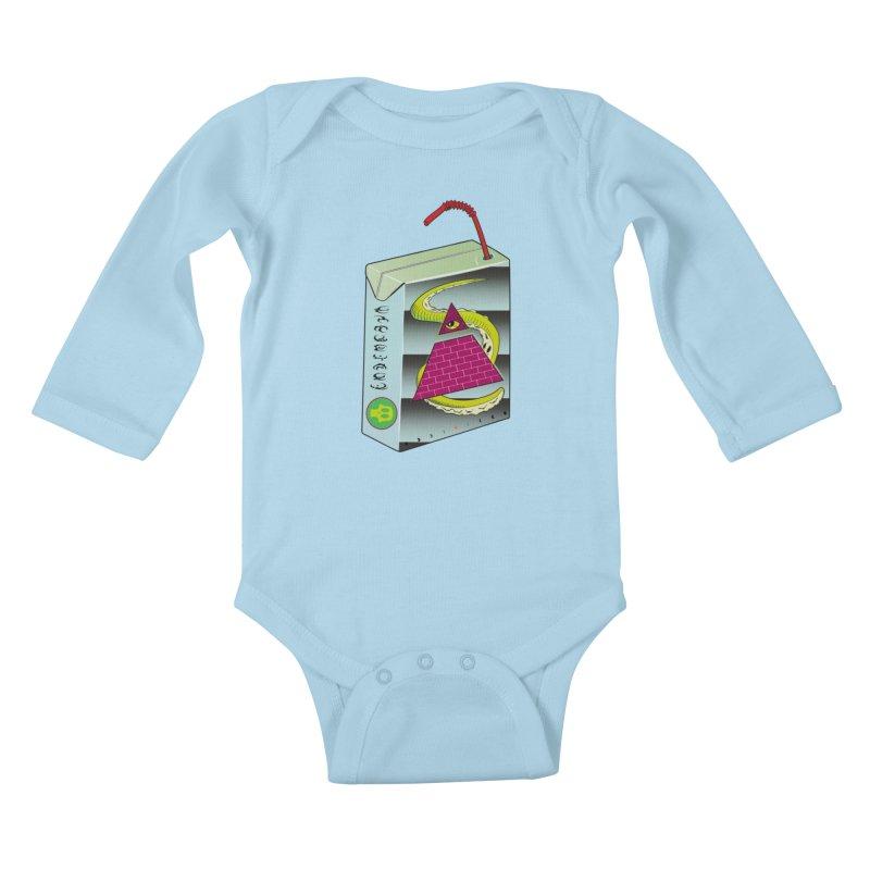 Illuminati Juice Box Kids Baby Longsleeve Bodysuit by Mightywombat's Artist Shop