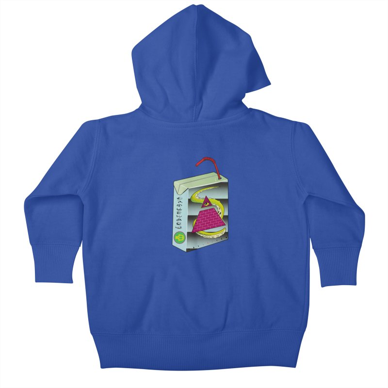 Illuminati Juice Box Kids Baby Zip-Up Hoody by Mightywombat's Artist Shop