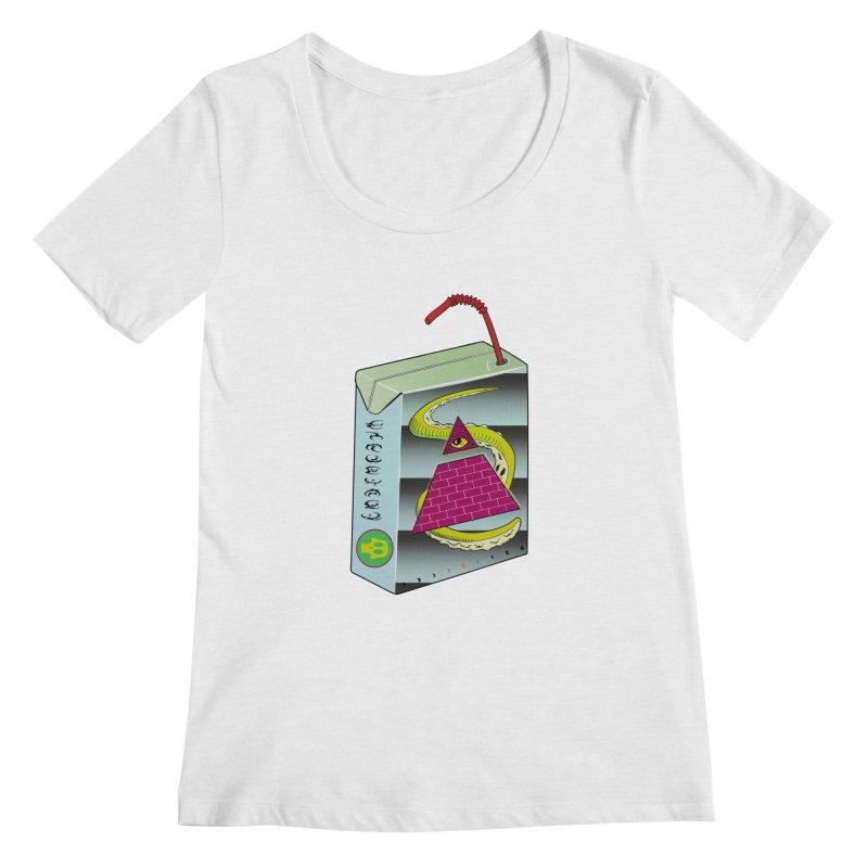 Illuminati Juice Box Women's Regular Scoop Neck by Mightywombat's Artist Shop