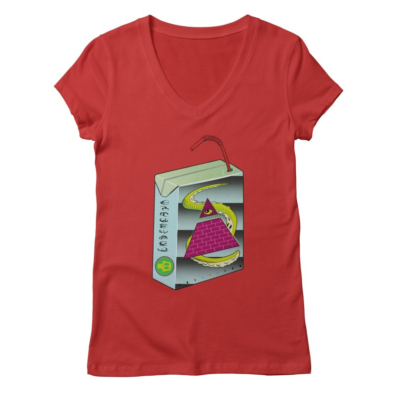 Illuminati Juice Box Women's V-Neck by Mightywombat's Artist Shop