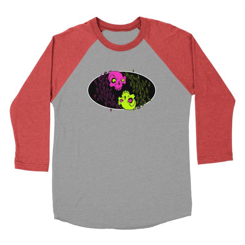 Two skulls (ok, it's a lot of skulls, but 2 big ones) Women's Baseball Triblend Longsleeve T-Shirt by Mightywombat's Artist Shop