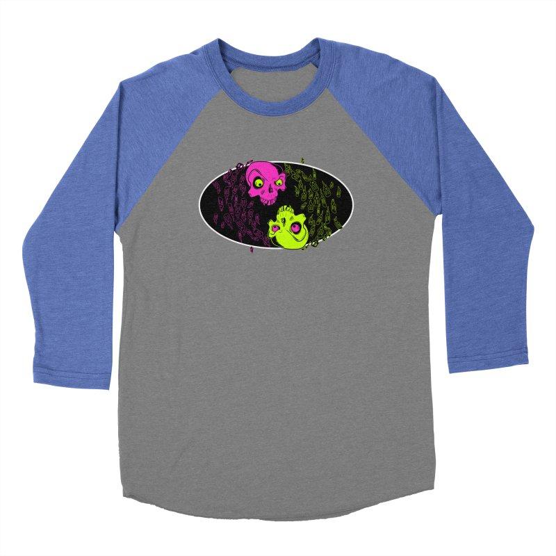 Two skulls (ok, it's a lot of skulls, but 2 big ones) Men's Baseball Triblend Longsleeve T-Shirt by Mightywombat's Artist Shop